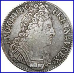EE0017 Rare Ecu 3 Couronnes Louis XIV 1709 X Amiens Argent F offre