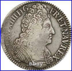 EE0018 Rare Ecu 3 Couronnes Louis XIV 1709 P Dijon Argent F offre