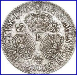 EE0025 Rare Ecu 3 Couronnes Louis XIV 1709 B Rouen Argent F offre