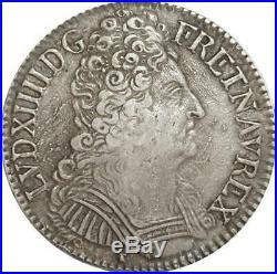 EE0030 Rare Ecu 3 Couronnes Louis XIV 1709 D Lyon Argent F offre