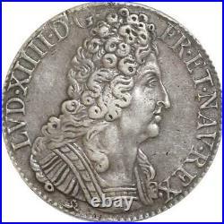 EE0033 Rare Ecu 3 Couronnes Louis XIV 1714 B Rouen Argent F offre