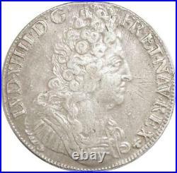 EE0041 Rare R3 Ecu 3 Couronnes Louis XIV 1711 E Tours Argent F offre
