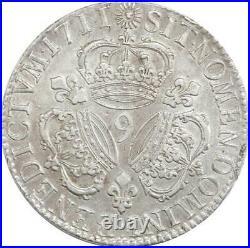 EE0063 Rare Ecu 3 Couronnes Louis XIV 1711 9 Rennes Argent F offre