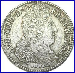EE0074 Rare 1/10 Ecu 3 couronnes Louis XIV 1711 & Aix en Provence Argent