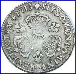 EE0077 Rare 1/3 Ecu 3 couronnes Louis XIV 1713 Vache Pau Argent F offre