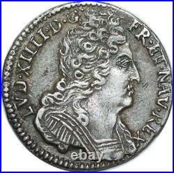 EE0082 Rare 1/3 Ecu 3 couronnes Louis XIV 1711 & Aix en Provence Argent