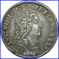 EE0125 Rare 1/10 Ecu 3 couronnes Louis XIV 1711 E Tours Argent offre SUP