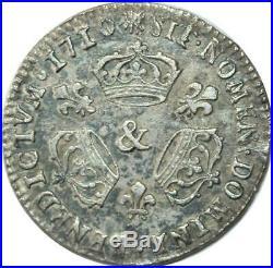 EE0135 Rare 1/3 Ecu 3 couronnes Louis XIV 1710 & Aix-en-Provence Argent