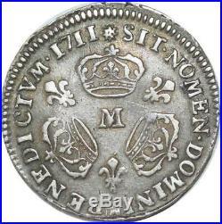 EE0140 Rare 1/3 Ecu 3 couronnes Louis XIV 1711 M Toulouse Argent F offre