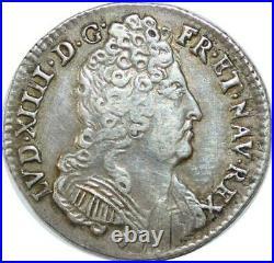 EE0143 Rare 1/3 Ecu 3 couronnes Louis XIV 1710 & Aix en Provence Argent