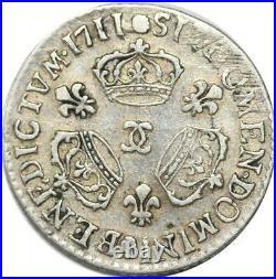 EE0150 Rare 1/10 Ecu 3 couronnes Louis XIV 1711 CC Besançon Argent -offre
