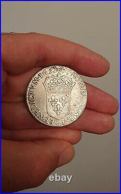 Ecu Louis XIV à la mèche longue 1652 Riom 2728 exemplaires