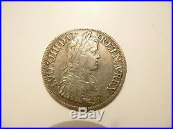 Ecu Louis XIV argent écu à la méche longue 1652 A