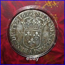 Écu à la Cravate (Argent) Louis XIV (Roi Soleil) 1673 A (Rareté R1)