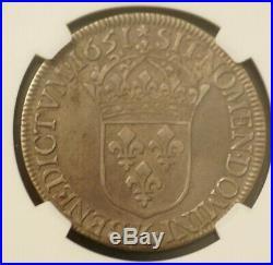 Ecu a la meche longe Louis XIV argent 1651 K (Bordeaux) NGC XF40