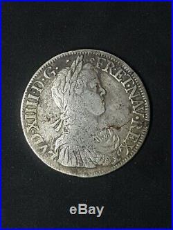 Ecu à la mèche longue 1652 S Troyes Louis XIV (1643-1715)