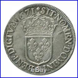Ecu au Buste Juvénile Louis XIV 1671