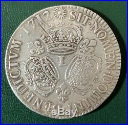 Ecu aux 3 couronnes 1712 L Bayonne Argent Silver Louis XIV R3