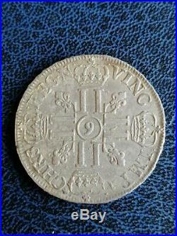 Écu aux 8 L Louis XIV 1691 9 Rennes R2 Argent Dy# 1540a