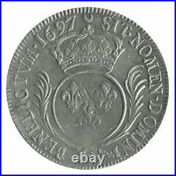 Ecu aux Palmes Louis XIV 1697