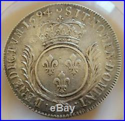 Ecu aux palmes 1694 D LYON Argent Silver Louis XIV rf