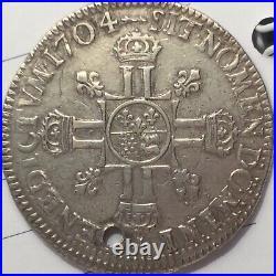 Ecu de Louis XIV Aux 8 L de Bearn. Second type. Rarissime. 1704