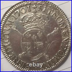 Ecu de Louis XIV aux Insignes de Bearn. Rarissime