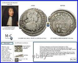 FRANCE AA86 LOUIS XIV Douzième d'écu du Béarn à la mèche longue 1660 Morlaàs
