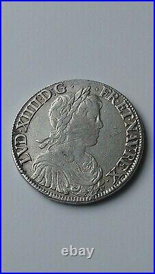 FRANCE. Monnaie royale, Louis XIV, Écu à la mèche longue, 1652, Rouen