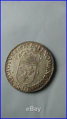 FRANCE. Très rare et magnifique écu à la mèche longue Louis XIV 1653 L en argent