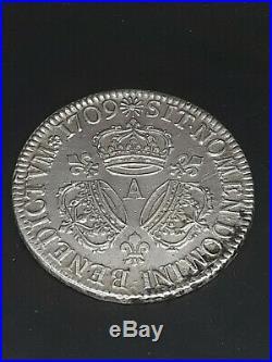 France Ecu Louis XIV Aux Trois couronnes Argent Silver 1709 A TTB++/SUP