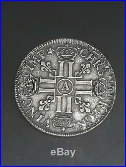 France Ecu aux 8 L Louis XIV 1690 A TTB++/SUP Argent silver Flan reformé