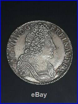 France Ecu aux Trois couronnes Louis XIV 1709 T TTB++ Argent silver