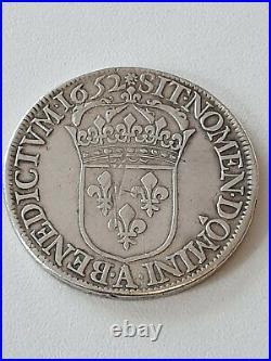 France Louis XIIII Argent ECU 1652 A
