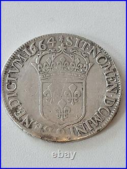 France Louis XIIII Argent ECU 1664 9