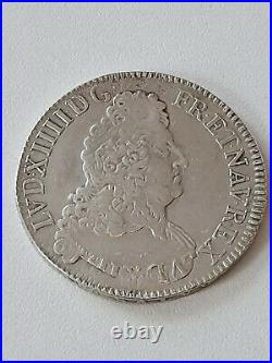 France Louis XIIII Argent ECU aux 8 L 2ème Type 1704 A Double réformation