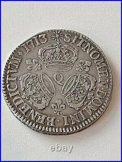 France Louis XIIII Argent ECU aux trois couronnes 1713 Q Unique exemplaire