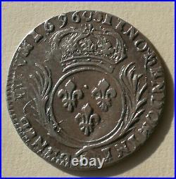France, Louis XIV, 1/12 Écu aux Palmes, 1696 G, Poitiers Argent TTB+