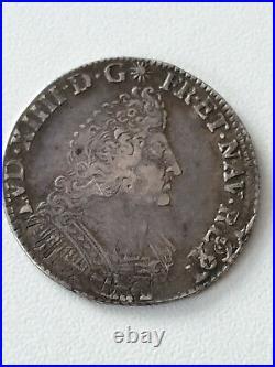 France Louis XIV Argent 1/4 ecu aux palmes 1694 E Tours TTB