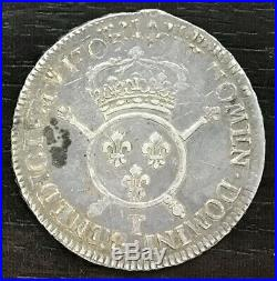 France Louis XIV Ecu Aux Insignes 1703 T Nantes Rare