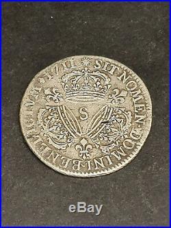 France Rare 1/4 ecu Louis XIV Aux Trois couronnes 1711 S Argent Silver