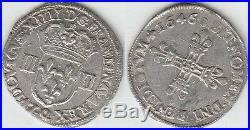 Gertbrolen Louis XIV Très rare Quart d' écu argent 1646 Narbonne