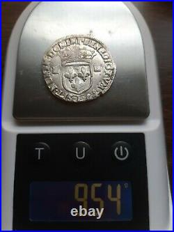 H14106 LOUIS XIV 1/4 ecu 1er type 1646 L Bayonne gradé ttb CGB monnaie royale
