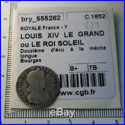 H21102 argent top rareté non répertoriée Louis XIV 1/12 écu 1654 Y Bourges CGB