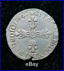 JOLIE 1/4 quart d'ecu LOUIS XIV 1645 G monnaie en argent