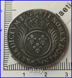 K05102 beau et rare 1/4 écu Louis XIV palmes 1694 D Lyon monnaie argent royale