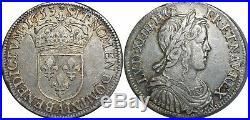 L1473 RARE Demi 1/2 écu Louis XIV mèche longue 1653 A Paris Argent Silver SUP