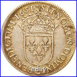 L1527 RARE Demi 1/2 écu Louis XIV mèche longue 1651 C Saint-Lô Argent Silver