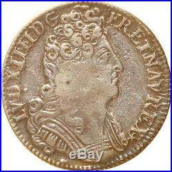 L1833 RARE 1/4 Ecu Louis XIV 3 couronnes 1711/0 A Paris Argent Silver F offre