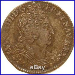 L1934 RARE 1/10 ecu Louis XIV 3 couronnes 1711/0 E Tours Argent Silver F offre
